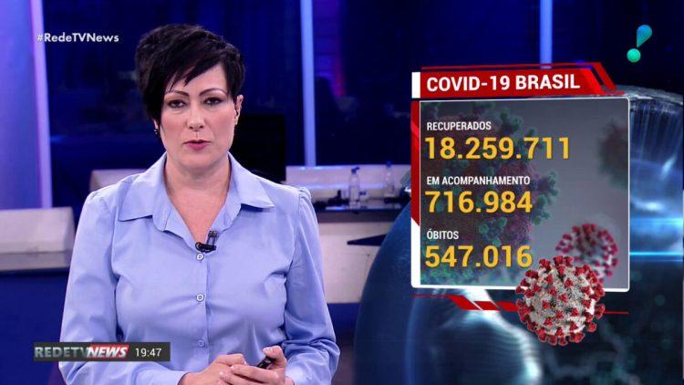 Apresentadora Joice Maffezzolli ao lado do gráfico que mostra os dados por covid-19 no RedeTV News