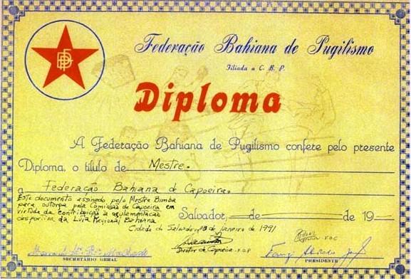 Portal Capoeira O DIPLOMA DE MESTRE BIMBA Capoeira da Bahia