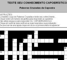 Portal Capoeira Jogos: Palavras Cruzadas, Jogo de ligar colunas e Quiz  da Capoeira Curiosidades
