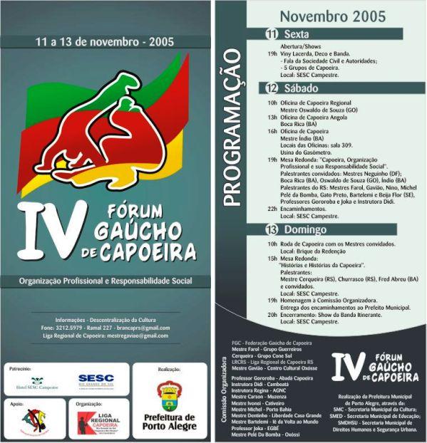 Portal Capoeira IV Fórum Gaucho de Capoeira Eventos - Agenda