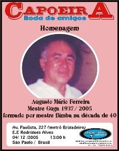 Portal Capoeira Roda em homenagem ao saudoso Mestre Guga Notícias - Atualidades
