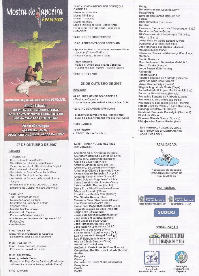 Portal Capoeira Quilombo Arerê - Mostra de Capoeira é PAN 2007 Eventos - Agenda