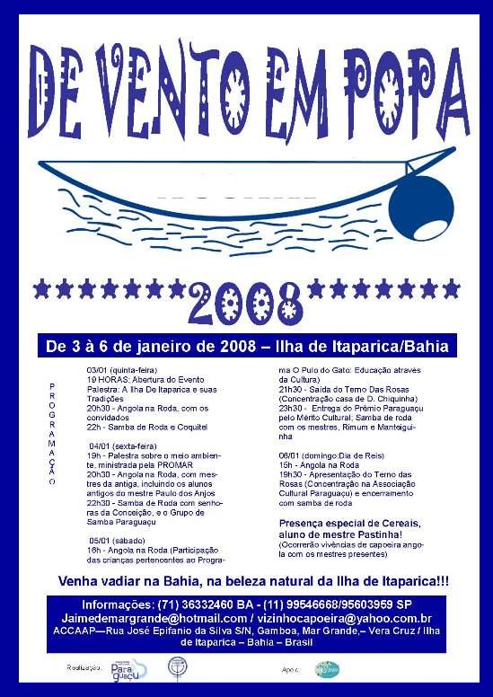 Portal Capoeira Ilha de Itaparica: DE VENTO EM POPA 2008 Eventos - Agenda