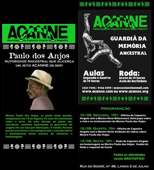 Portal Capoeira Paulo dos Anjos: Autoridade Ancestral Eventos - Agenda