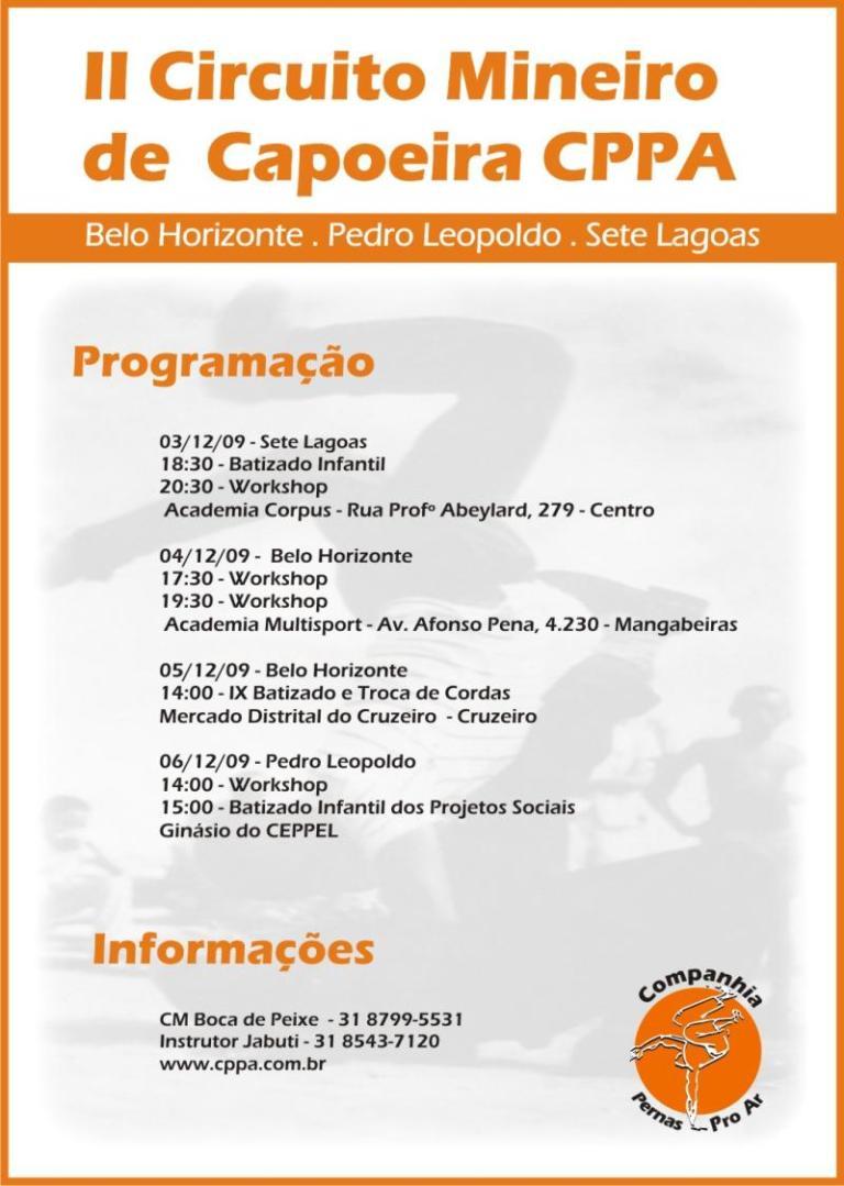 Portal Capoeira II Circuito Mineiro de Capoeira Companhia Pernas Pro Ar Eventos - Agenda