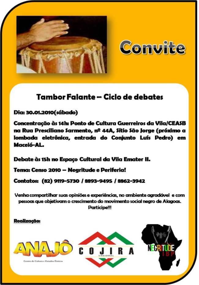 """Portal Capoeira Quinta edição do Tambor Falante discute """"Censo 2010 e periferia"""" Cultura e Cidadania"""