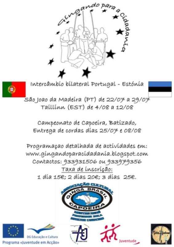 Portal Capoeira Intercâmbio internacional de jovens Portugal x Estónia Cidadania