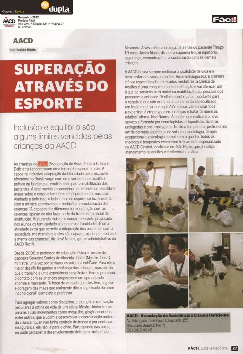 AACD – Capoeira e Inclusão – Matéria Revista Fácil
