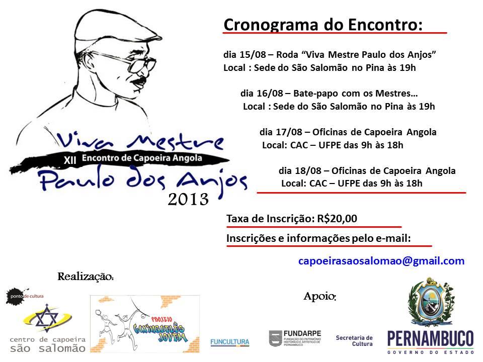 """Portal Capoeira Pernambuco: """"Viva Mestre Paulo dos Anjos"""" Eventos - Agenda"""