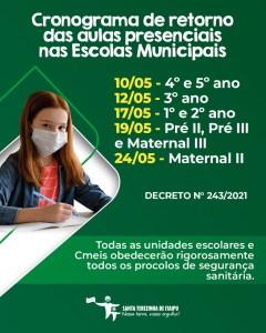 Aulas presenciais da rede municipal de Santa Terezinha de Itaipu retomam na segunda-feira, 10