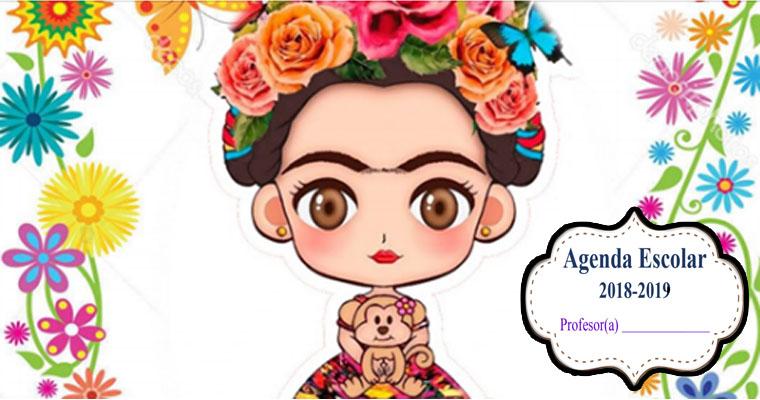 Imagenes De Frida Kahlo Para Imprimir: Agenda Escolar De Frida ( Material Para Docente )