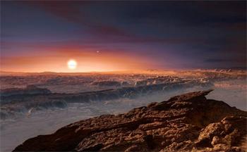 Ilustração da superfície do planeta Proxima b que orbita a estrela anã vermelha Proxima Centauri. A estrela dupla Alpha Centauri AB é visível para cima e à direita da Proxima Centauri. Crédito: ESO.