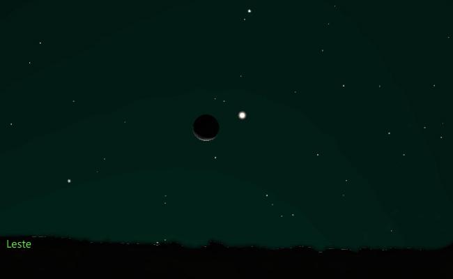 A dança do par Lua e Júpiter no céu matinal dia 25 pouco depois das 5 horas. Um convite para tirar uma fotografia, talvez ao som dos cantos dos primeiros galos desorientados pela poluição luminosa.