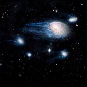 Ram-pressure stripping - perda de gás nas galáxias.