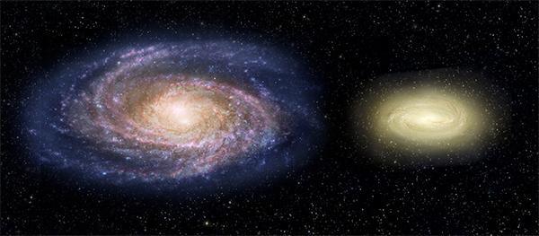 MACS2129-1 em comparação com a Via Láctea.