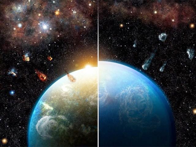Sistemas planetários secos e húmidos.