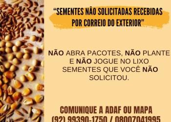 POPULAÇÃO DEVE COMUNICAR À ADAF RECEBIMENTO DE PACOTES COM SEMENTES NÃO SOLICITADAS