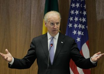 U.S. Vice President Joe Biden speaks during a joint-statement with Brazil's Vice President Michel Temer at the Itamaraty palace in Brasilia, Friday, May 31, 2013. (AP Photo/Eraldo Peres)