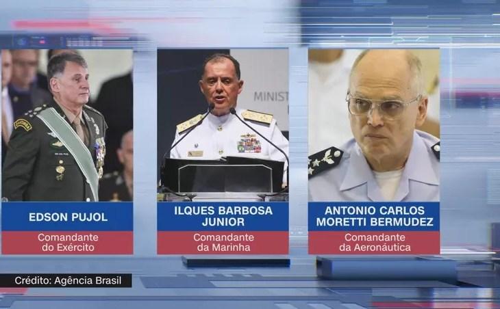 Comandantes da Marinha, Exército e Aeronáutica serão substituídos