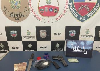 Homem é preso em Coari pelos crimes de tráfico de drogas, porte ilegal de arma de fogo e violência doméstica