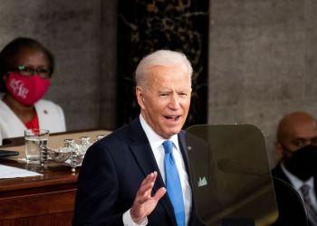 U.S. President Joe Biden addresses to a joint session of Congress at the U.S. Capitol in Washington, U.S., April 28, 2021. Caroline Brehman/Pool via REUTERS