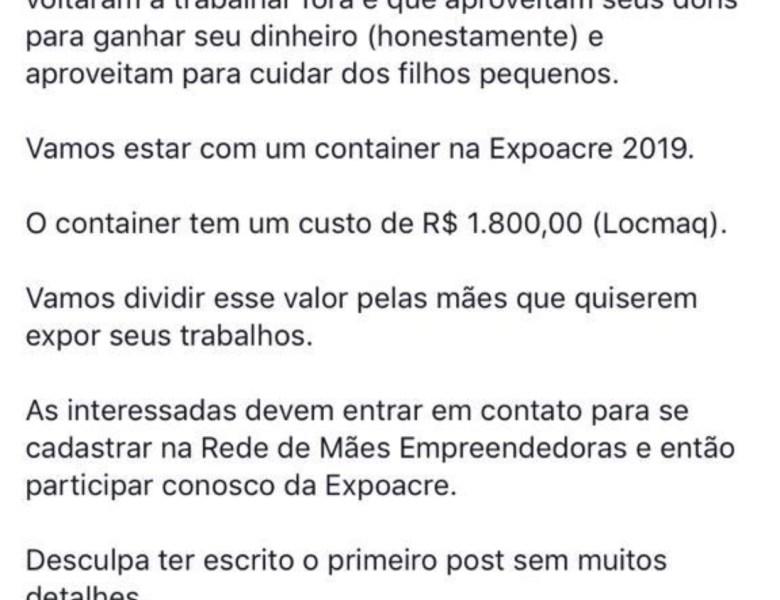 Causa justa – Empresária explica e convence comercialização de espaço na Expoacre; é uma ação de mães empreendedoras