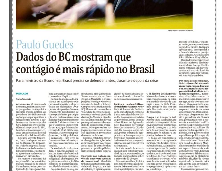 Paulo Guedes – Dados do BC mostram que contágio é mais rápido no Brasil
