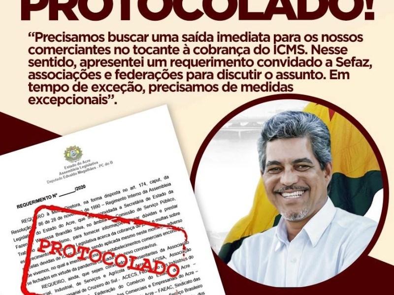 Edvaldo Magalhães defende debate sobre cobrança do ICMS durante a pandemia