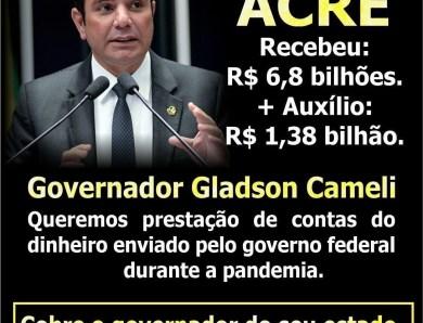 É fogo, amigo! Bolsonaristas espalham card sobre mais de R$ 8 bilhões recebidos por Gladson