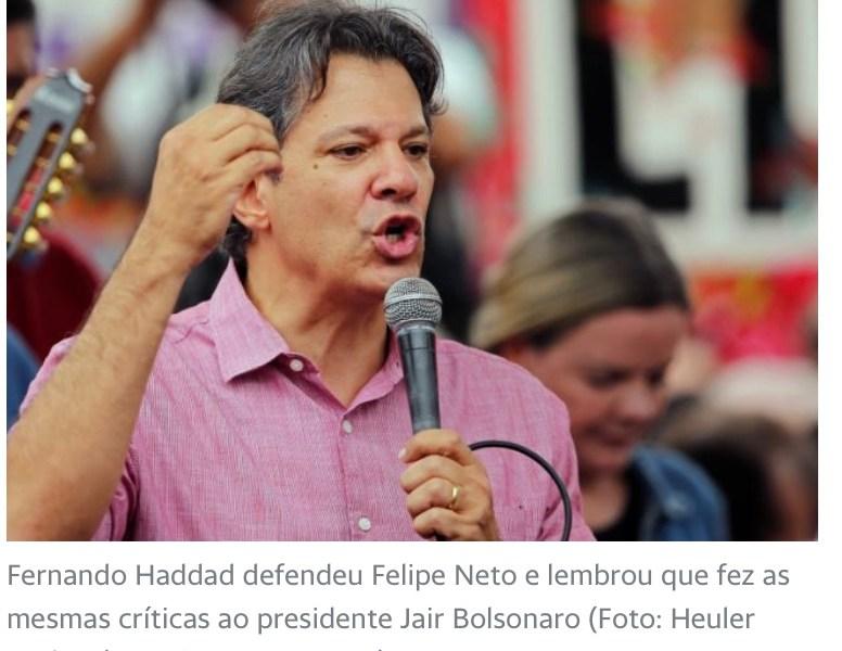 """Em defesa de Felipe Neto, Haddad chama Bolsonaro de genocida: """"Por que não manda a polícia aqui?"""""""