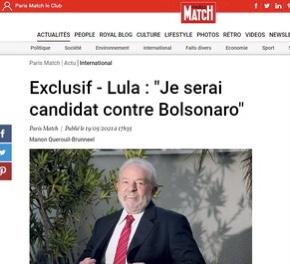 """""""Serei candidato contra Bolsonaro"""", diz Lula a revista francesa Paris Match"""