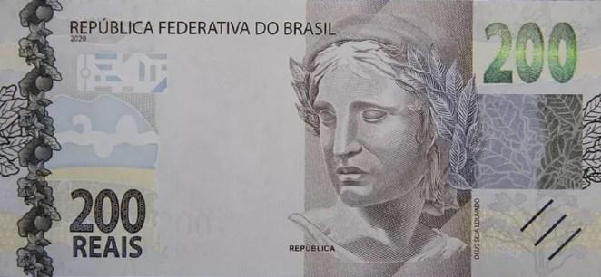 Nova cédula de R$ 200 (Frente).