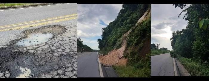 Buracos, árvores caídas, desbarrancamento...BR 174 clama por manutenção!