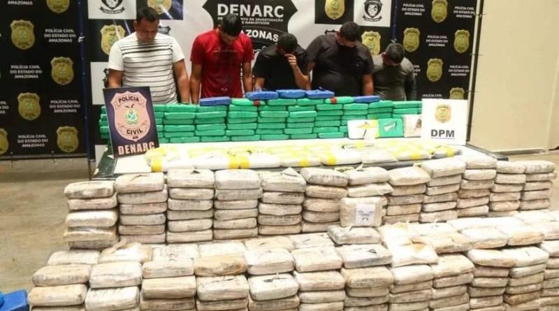 Quinteto é preso em Manaus com 400 quilos de droga avaliados em R$ 4 milhões