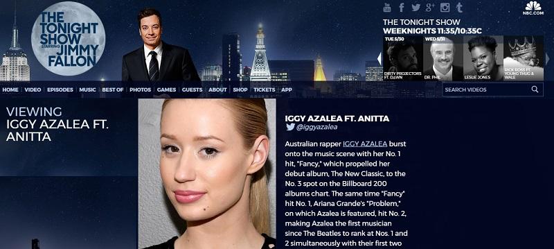 Iggy Azalea e Anitta Portal Fama jimmy fallon