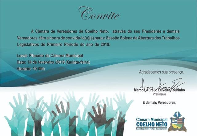 Sessão Solene marcará retorno dos vereadores de Coelho Neto aos trabalhos legislativos