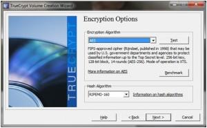 Figura 5:Opções de encriptação