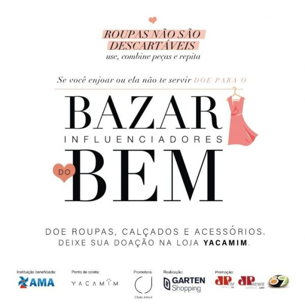 "3ª Bazar ""Influenciadores do Bem"" reverterá fundos para AMA"