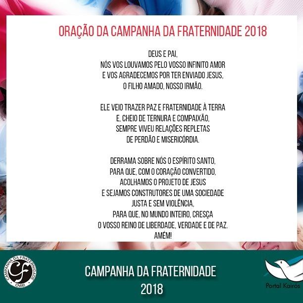 Oração da Campanha da Fraternidade 2018