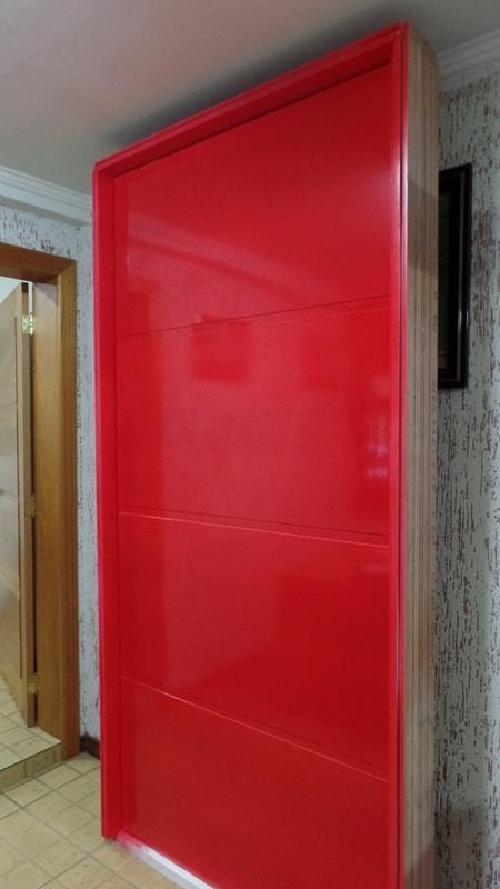 Porta de entrada - externa - interna - pintura - vermelho - vermelha