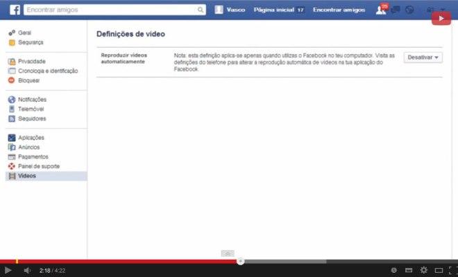 Como desativar reproducao automatica facebook