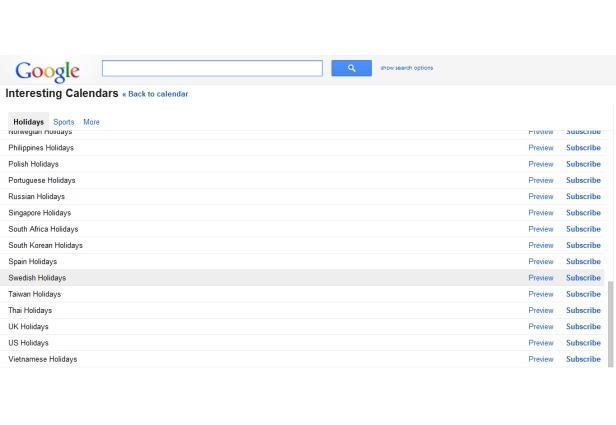 Feriados Google Calendar