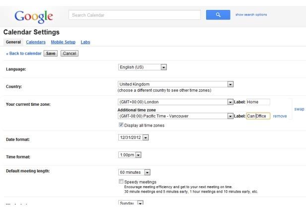 Fuso horário Google Calendar