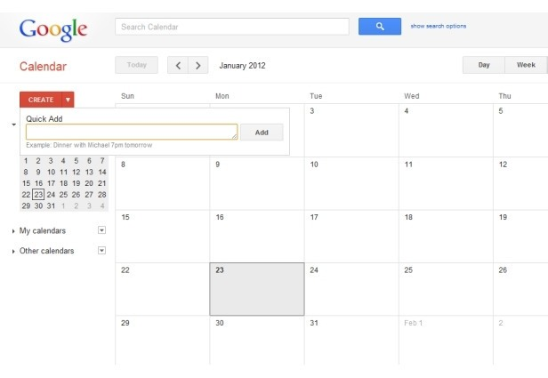 Quick Add Google Calendar