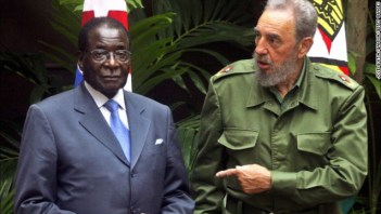 ZimbabweanI President Robert Mugabe arrives in Havana for an official three-day visit with President Fidel Castro