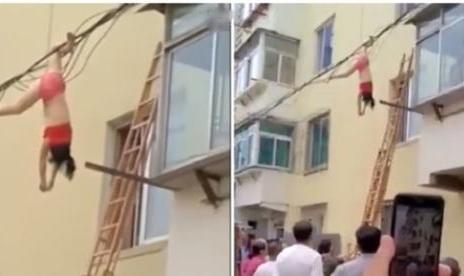 Na ocasião, ela ficou pendurada de cabeça para baixo a jovem teria pulado pela janela após a esposa do amante ter chegado um pouco mais cedo do que o previsto.