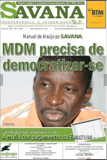 Depois das denúncias e contendas com MAHAMUDO AMURANE (Edil de Nampula), surgem declarações bombásticas do membro sénior do MDM, Manuel de Araújo (Edil de Quelimane)