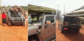 Hummer H2 de luxo foi visto como sendo usado para transportar varas de bambu de um mercado de madeira na parte leste do país. O veículo era o centro de atracção no mercado.