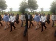 Uma foto em que o líder do maior partido da oposição de Moçambique, Afonso Dhlakama aparece dando risadas caminhando ao lado do Presidente de Moçambique, Filipe Jacinto Nyusi