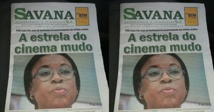 """Estou contente pela capa do jornal """"Savana"""", da sexta-feira última. Intitula-se """"A estrela do cinema mudo"""", em referência a Beatriz Buchili"""